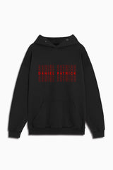 thank you! graphic hoodie in black/red by daniel patrick