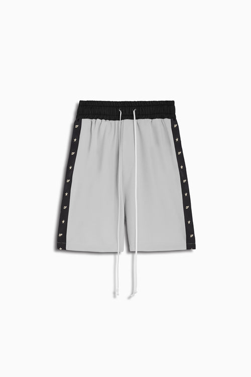 track team gym short / silver + black