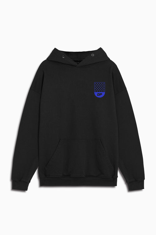track team hoodie in black/cobalt by daniel patrick