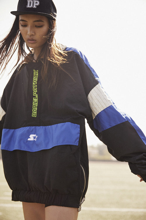 dp breakaway half-zip windbreaker / black + cobalt + ivory