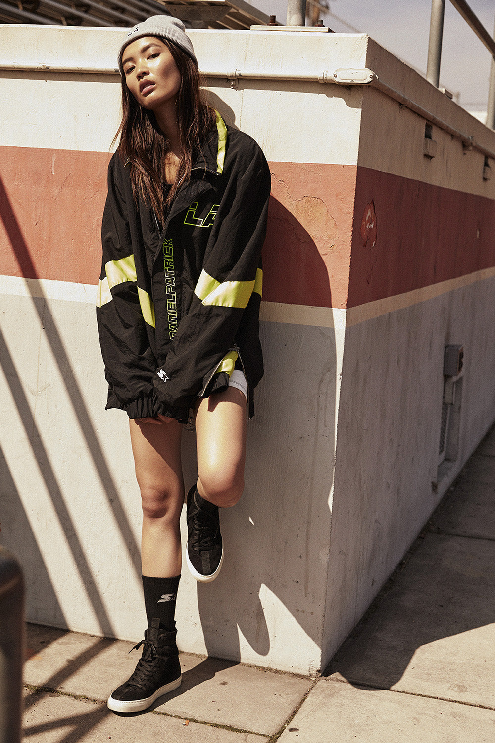 dp starter LA team jacket / black + citrus lime