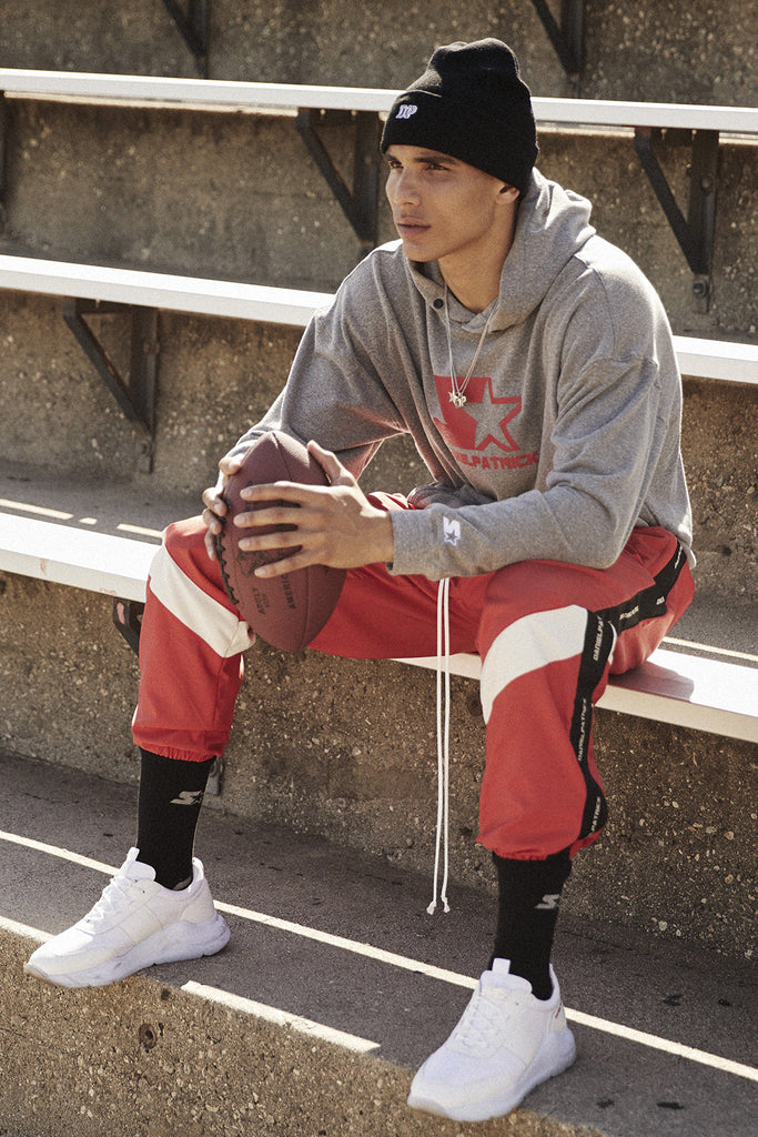 dp starter breakaway track pant / red + black + ivory