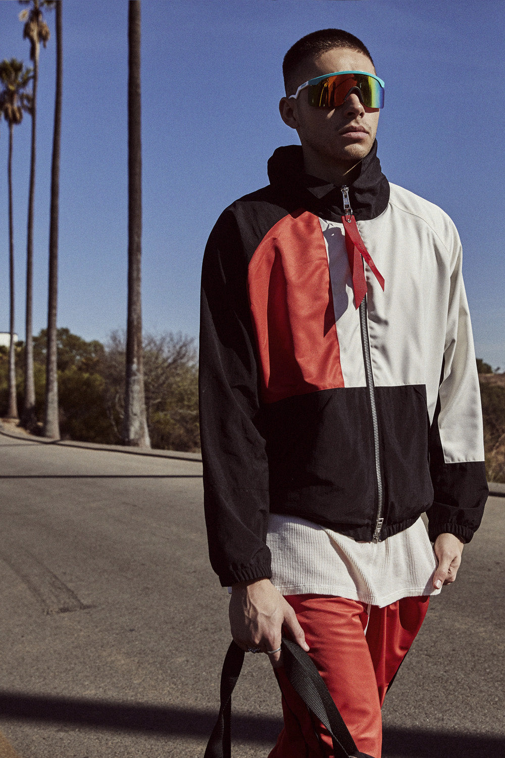 93 jacket in black/red/ivory by daniel patrick