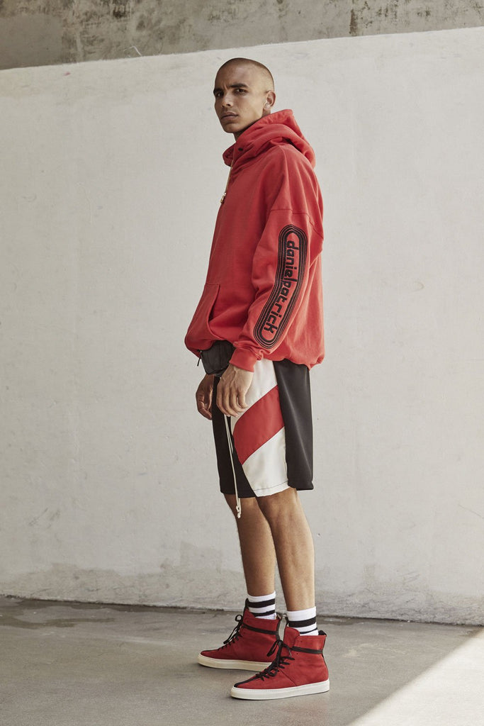 dp retro hoodie in red/black by daniel patrick