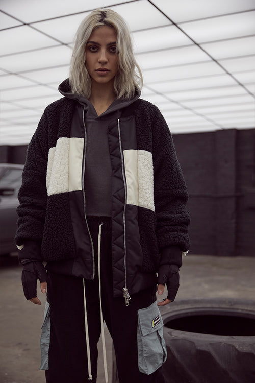 panel sherpa bomber in black/ivory by daniel patrick