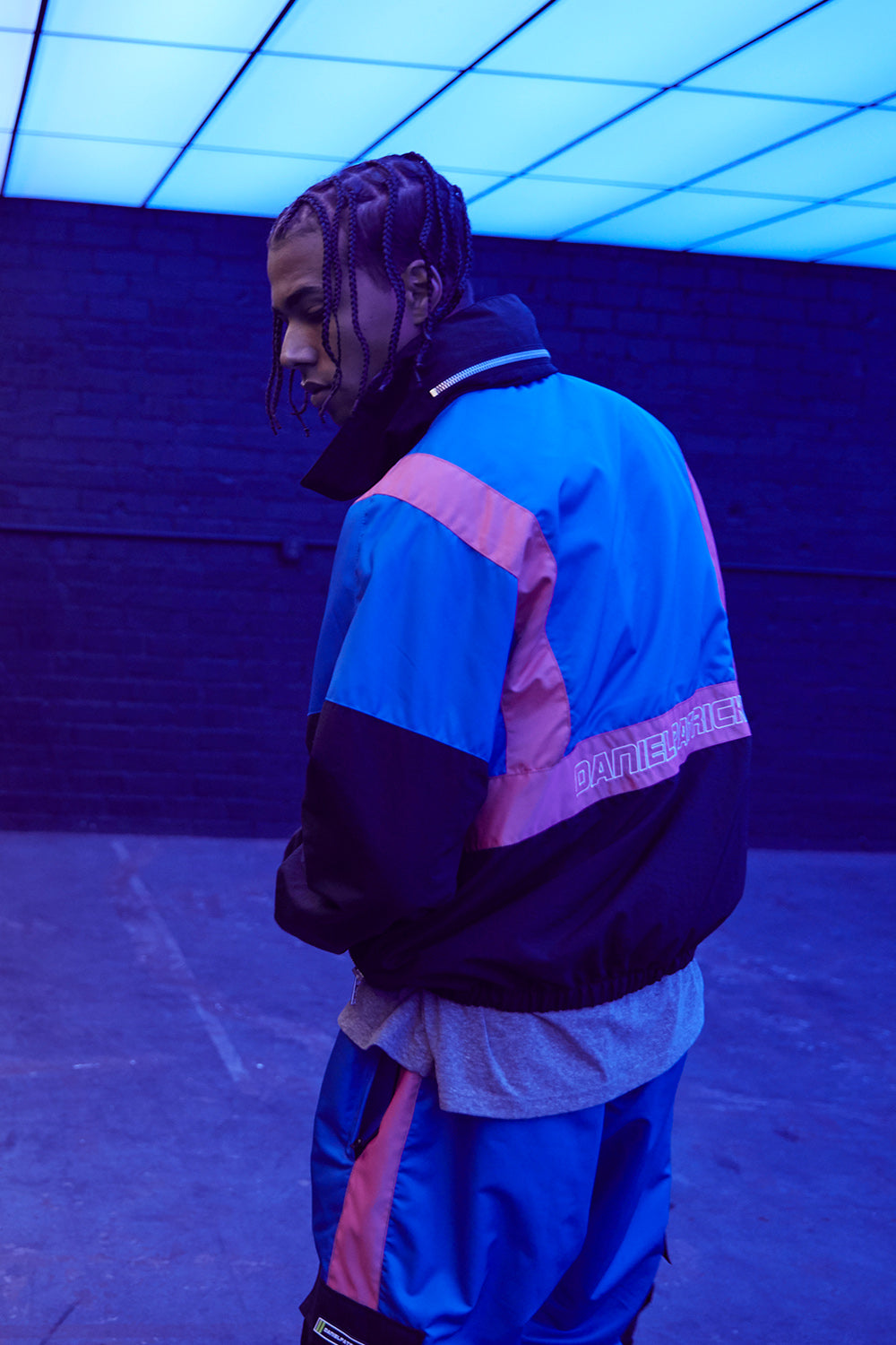 2020 track jacket in black/cobalt/wildflower pink by daniel patrick