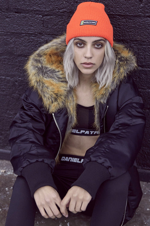 DP beanie in neon orange by daniel patrick