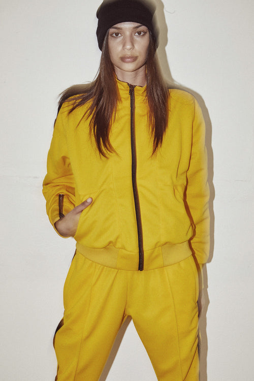womens heroine track jacket in yellow/black by daniel patrick