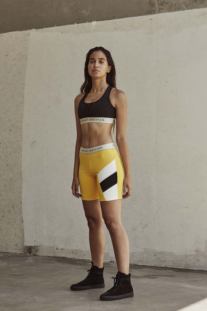 womens la bike shorts in yellow/black/ivory by daniel patrick
