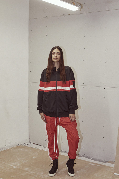 LA track jacket in black/red/ivory by daniel patrick