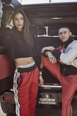snap track pant in red/black/ivory by daniel patrick