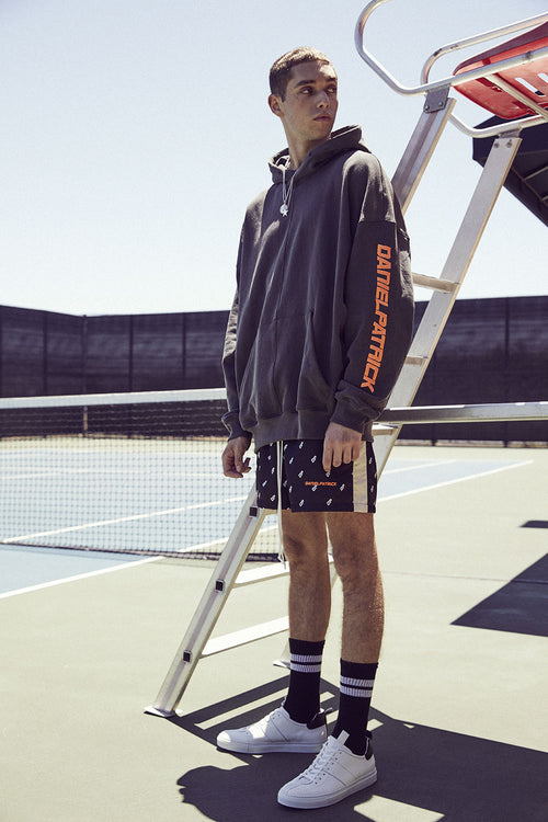 2019 DP hoodie / vintage black + neon orange