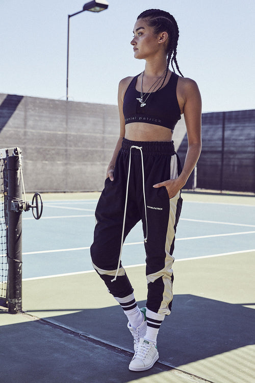 2019 parachute track pant in black/ivory/ivory by daniel patrick