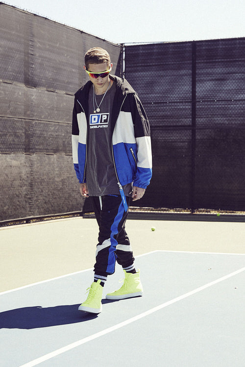 panel track jacket / black + ivory + cobalt