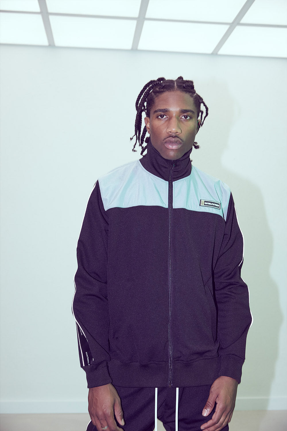 2020 slim track jacket / black + 3m + sea foam