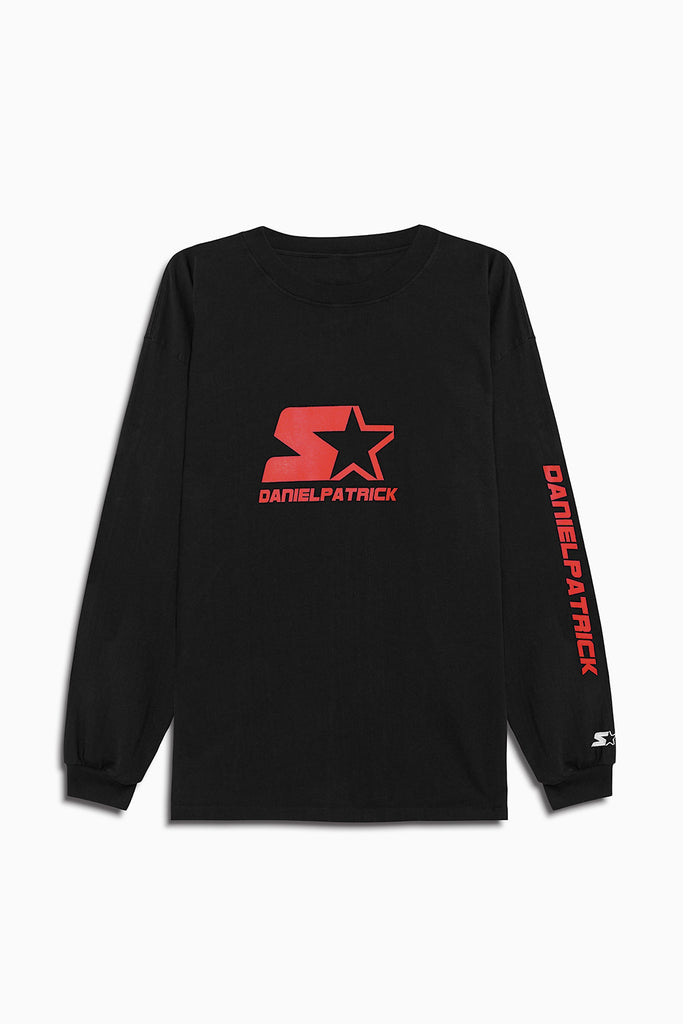 dp starter l/s logo crew in black/red by daniel patrick
