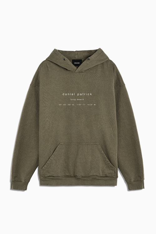 long beach souvenir hoodie / washed olive