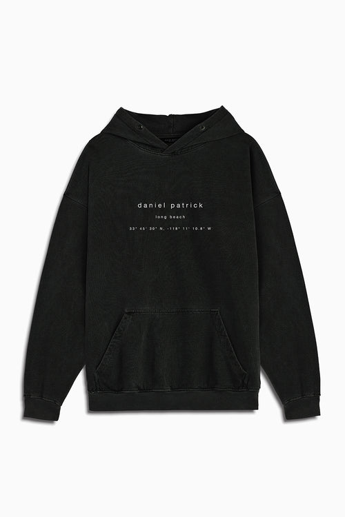 long beach souvenir hoodie / washed black