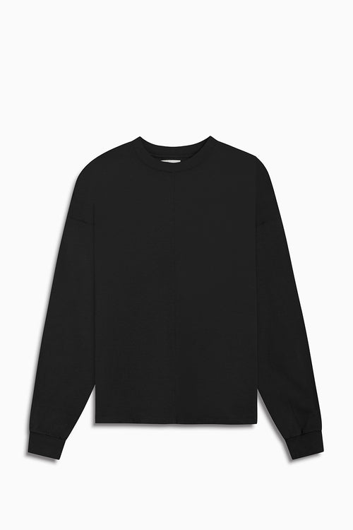 standard l/s crew / washed black
