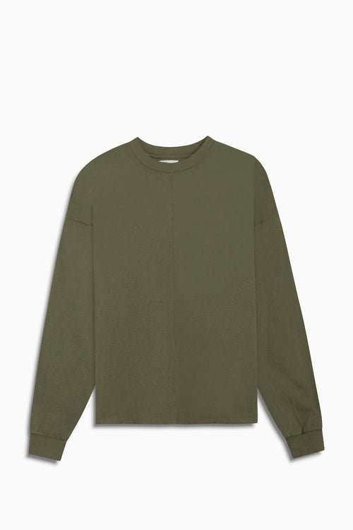 standard l/s crew / washed olive