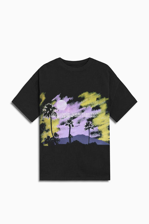 sunset tee / black + purple + yellow