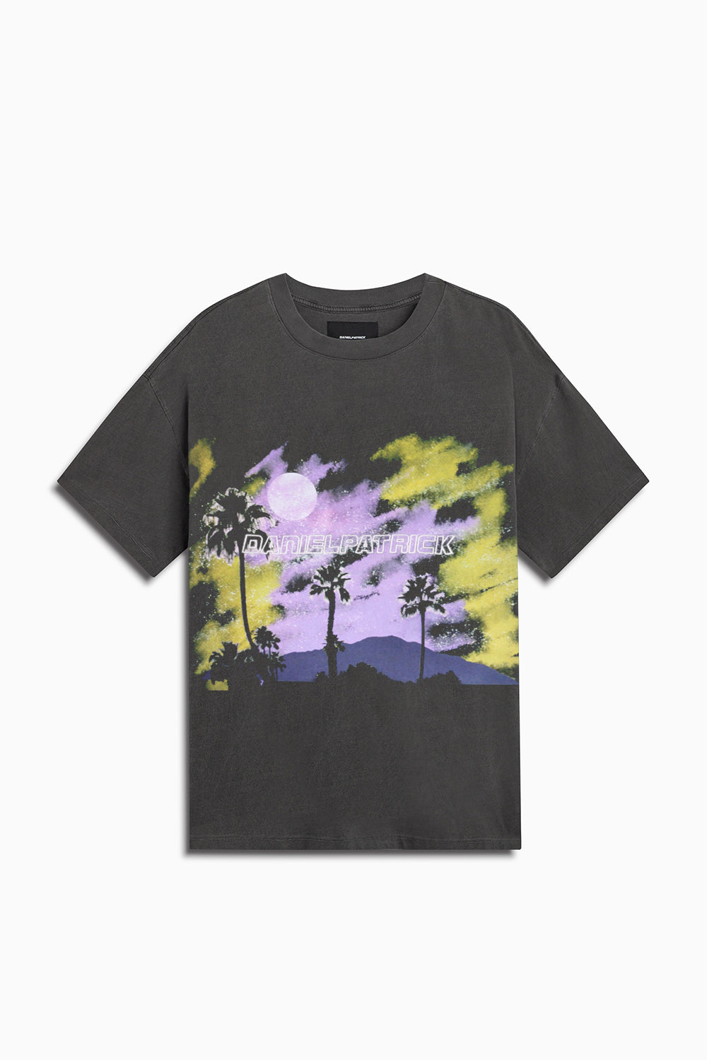 sunset tee / vintage black + purple + yellow