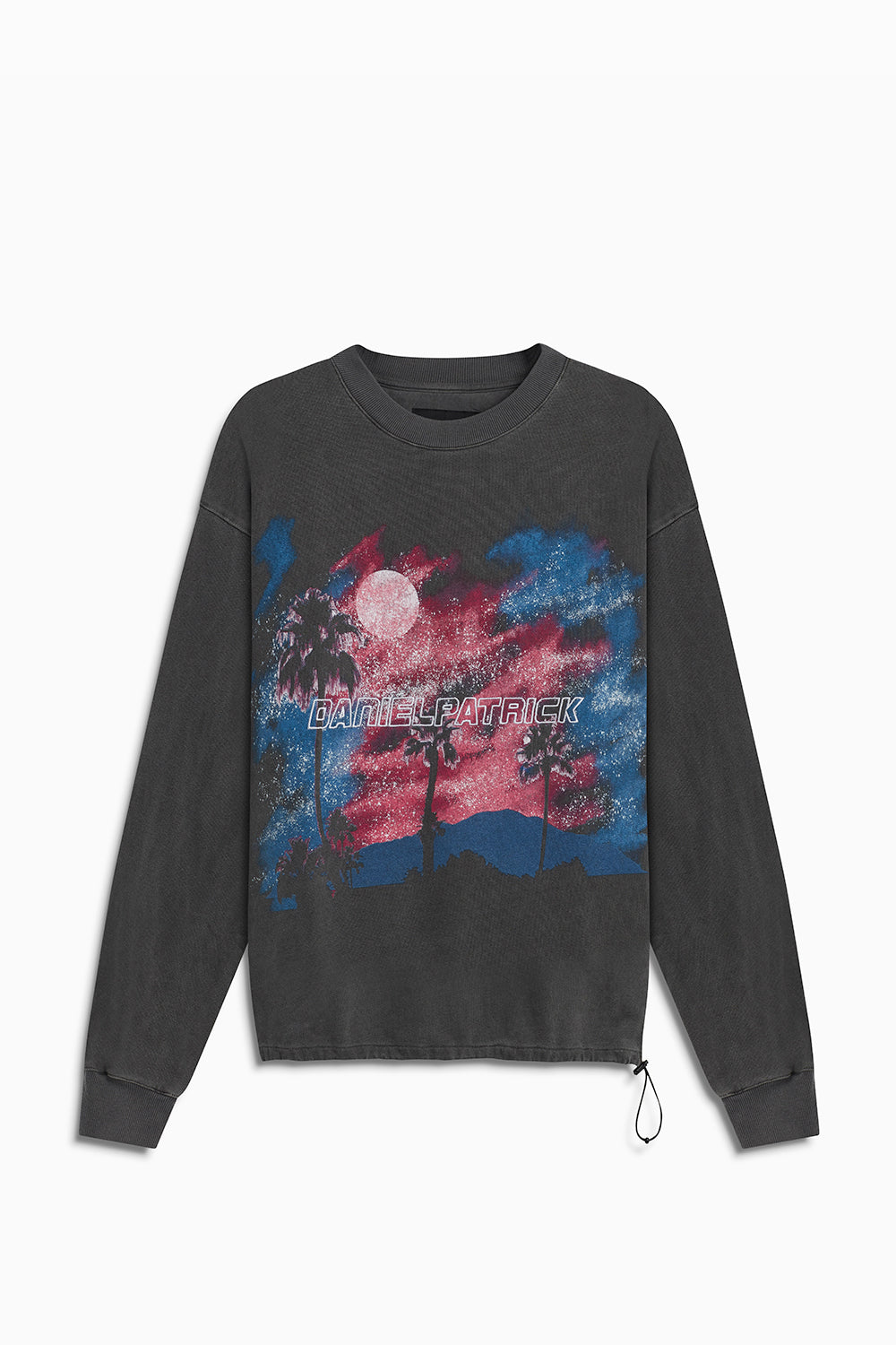 sunset bungee sweatshirt / vintage black + pink + blue