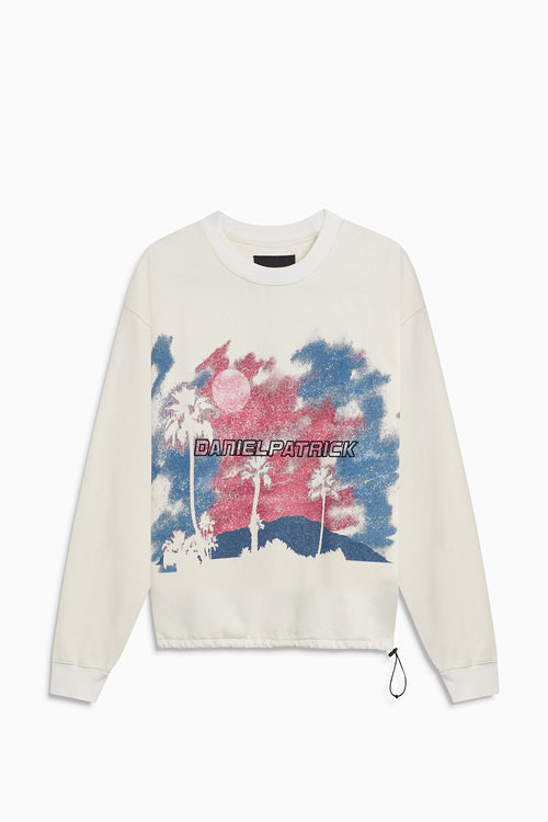 sunset bungee sweatshirt / natural + pink + blue