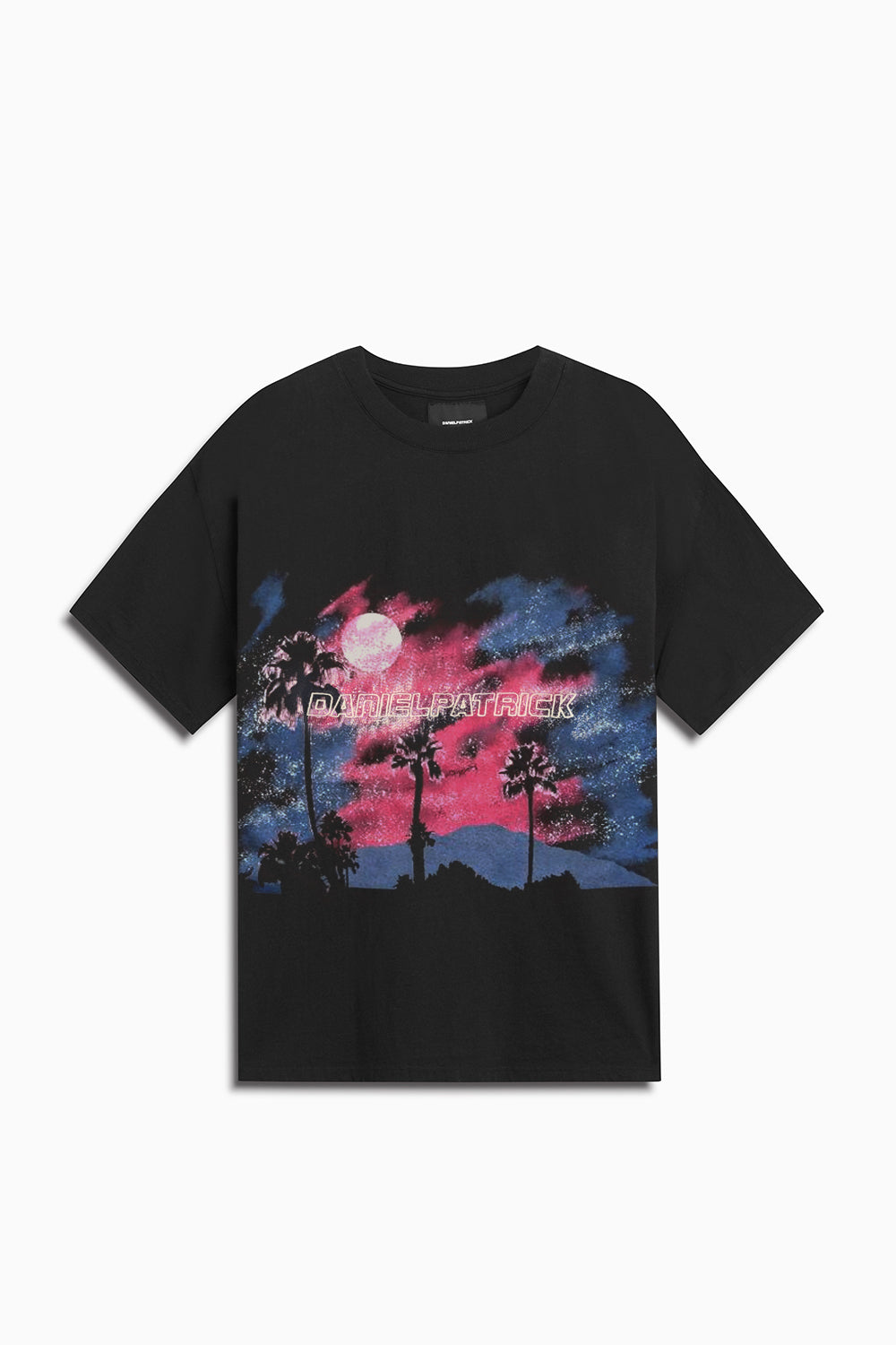 sunset tee / washed black + pink + blue