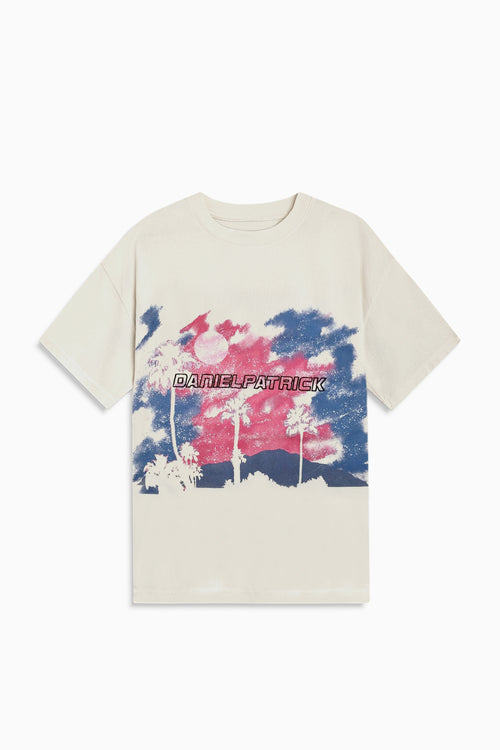 sunset tee / natural + pink + blue