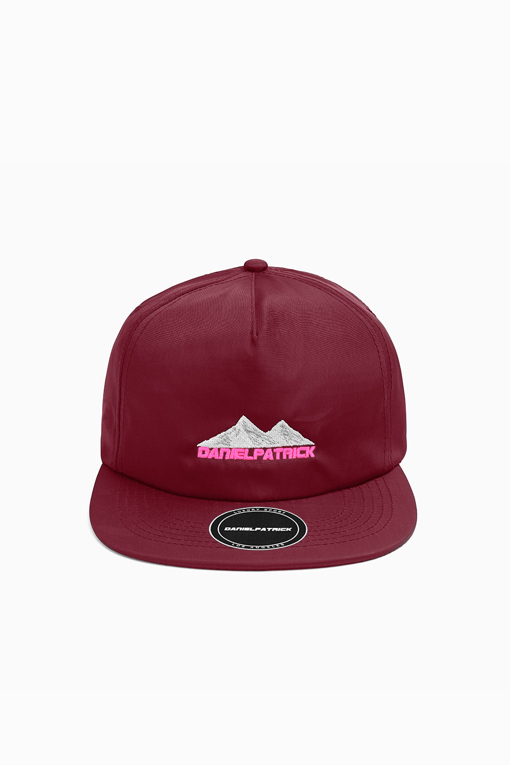 moving mountains cap / maroon nylon + wildflower pink