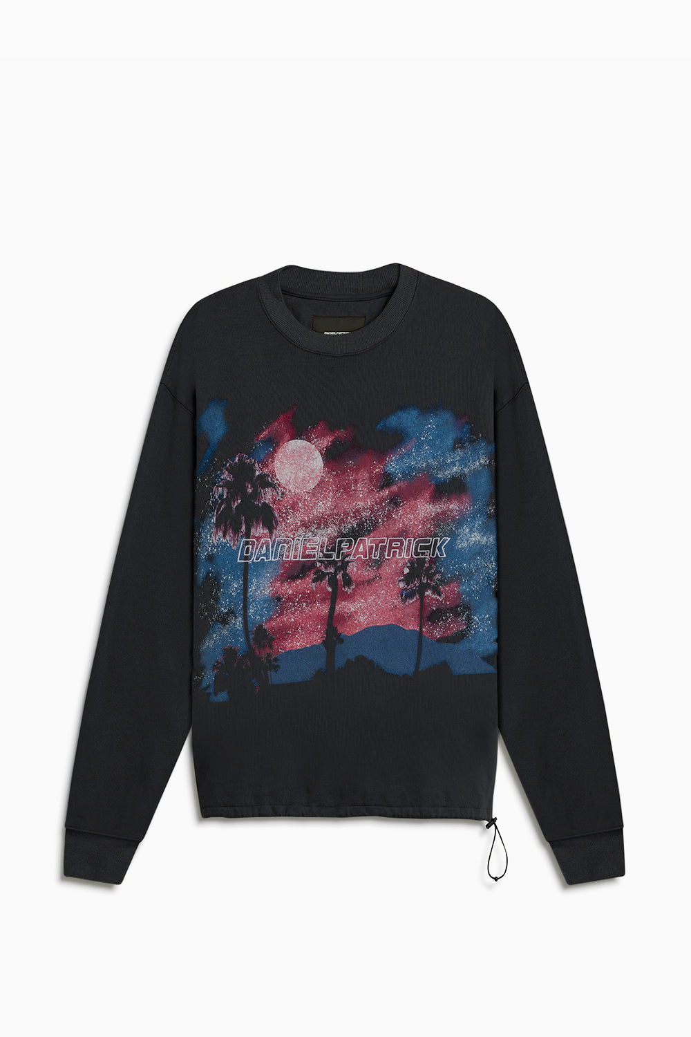 sunset bungee sweatshirt / washed black + pink + blue