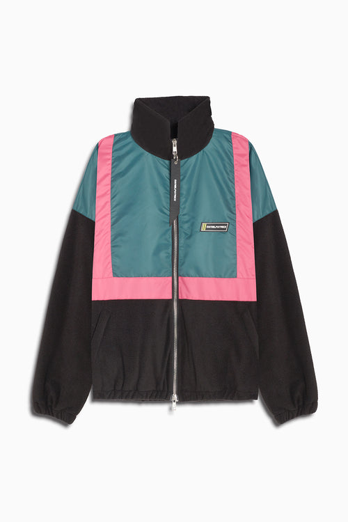 2020 track jacket / teal + pink + black