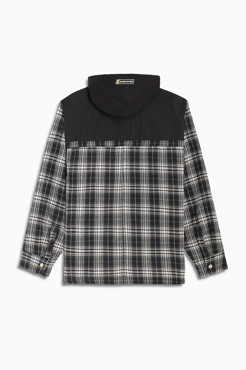hooded flannel shacket / black grey plaid