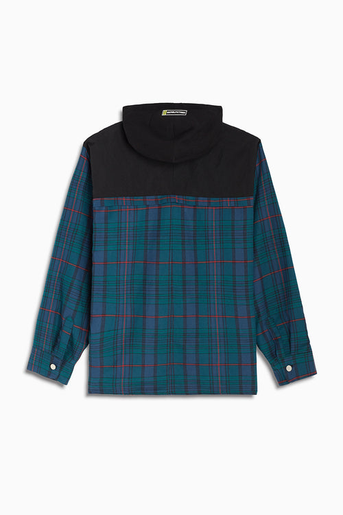 hooded flannel shacket / blue green plaid