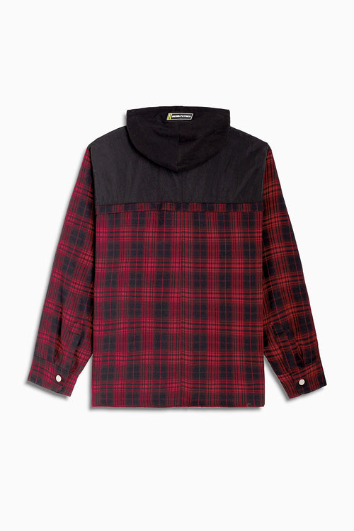 hooded flannel shacket / red plaid