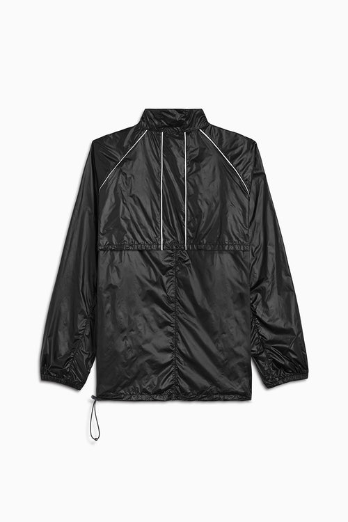 pullover batting jacket / shiny black