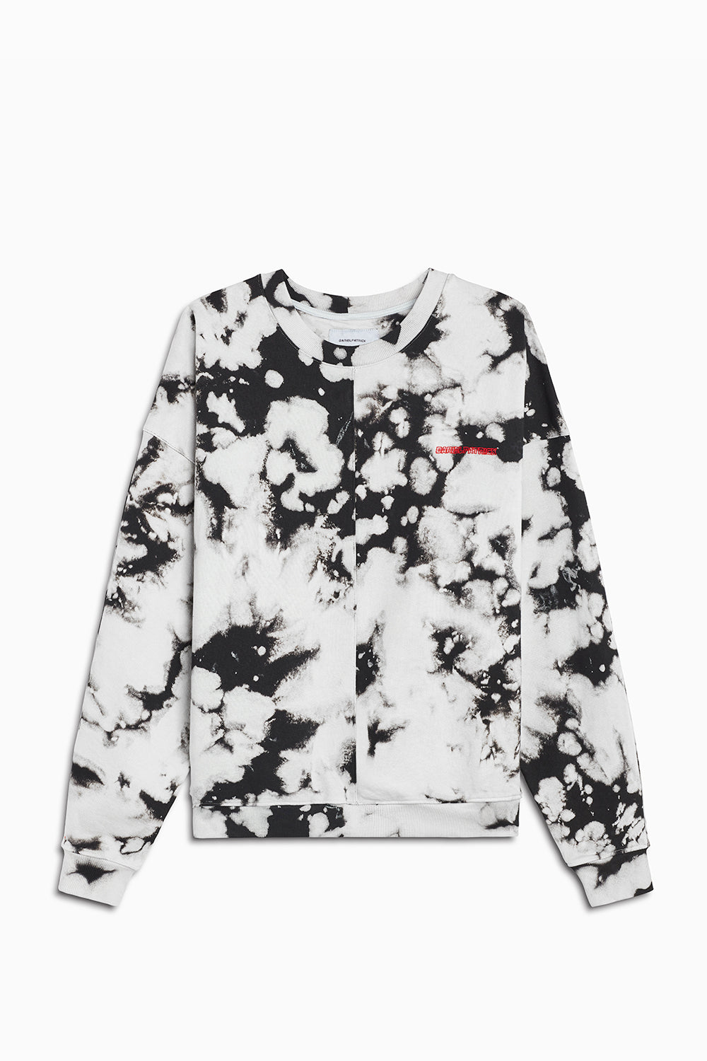 pullover crew neck sweatshirt / white acid + red