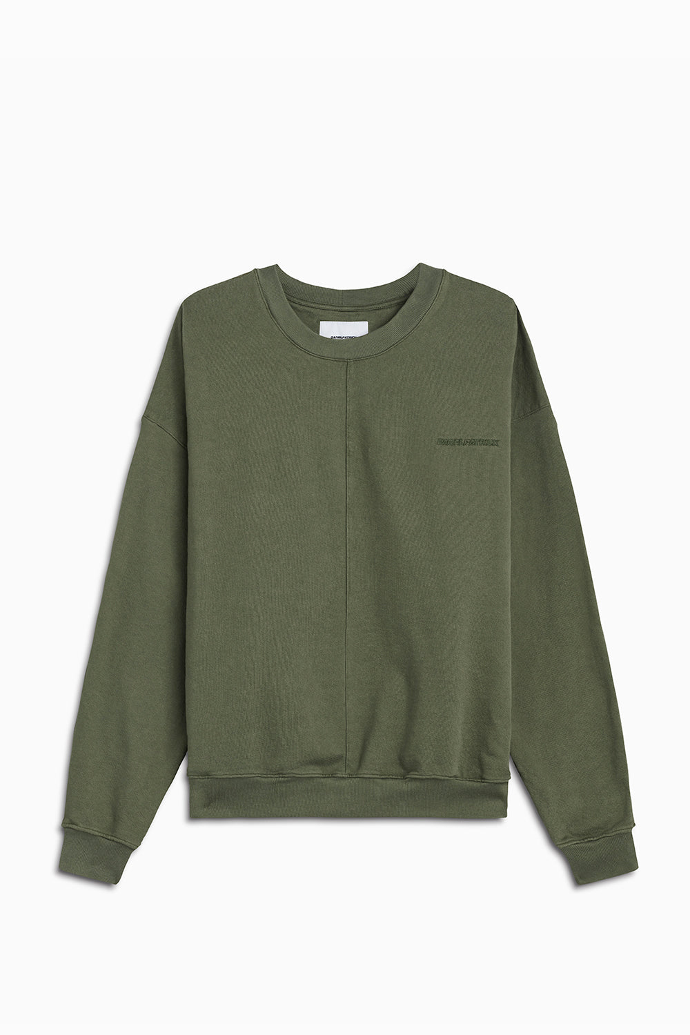 pullover crew neck sweatshirt / washed olive
