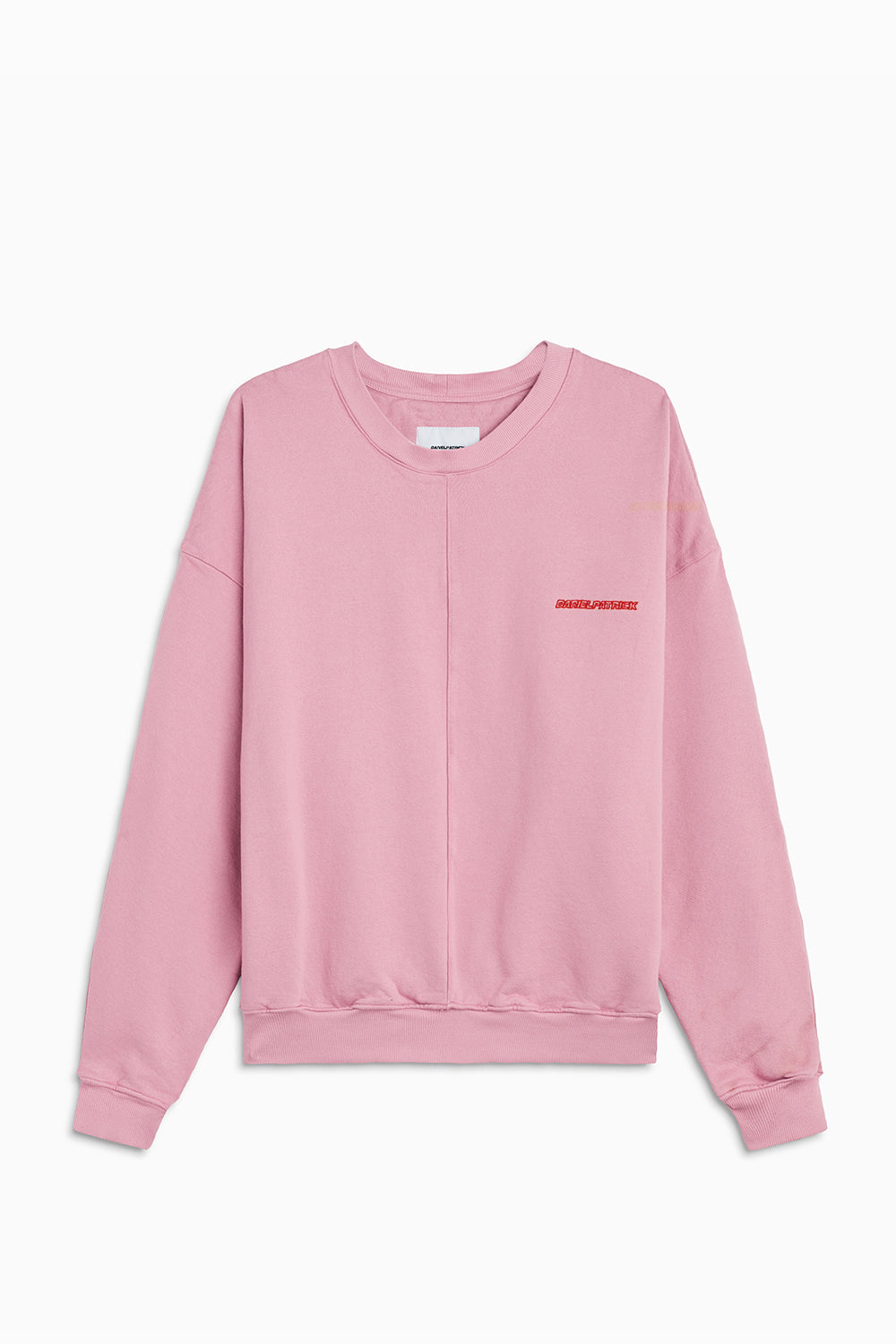 pullover crew neck sweatshirt / blush + red