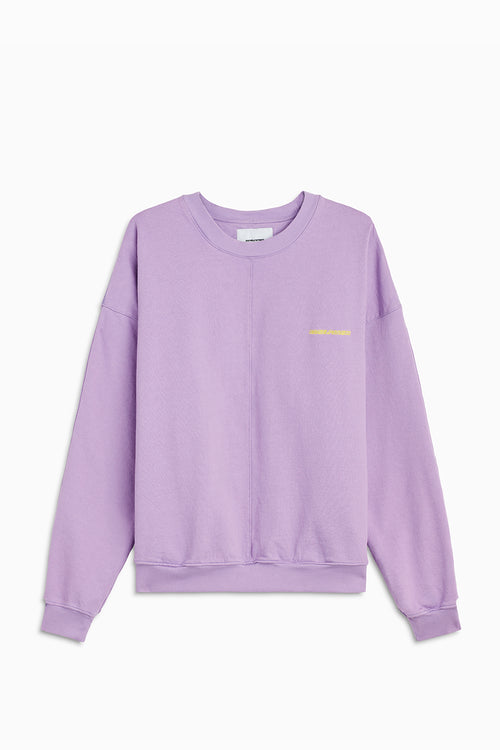 pullover crew neck sweatshirt / purple haze + yellow