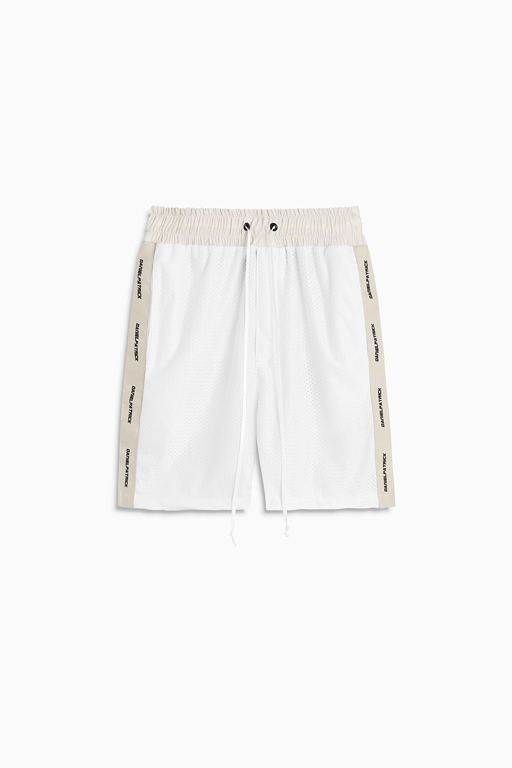 mesh gym short in white/ivory by daniel patrick