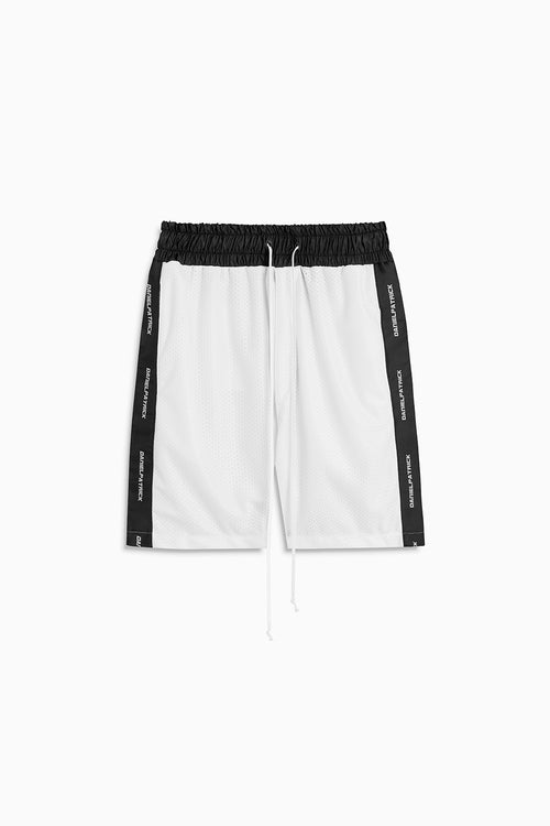mesh gym short in white/black by daniel patrick
