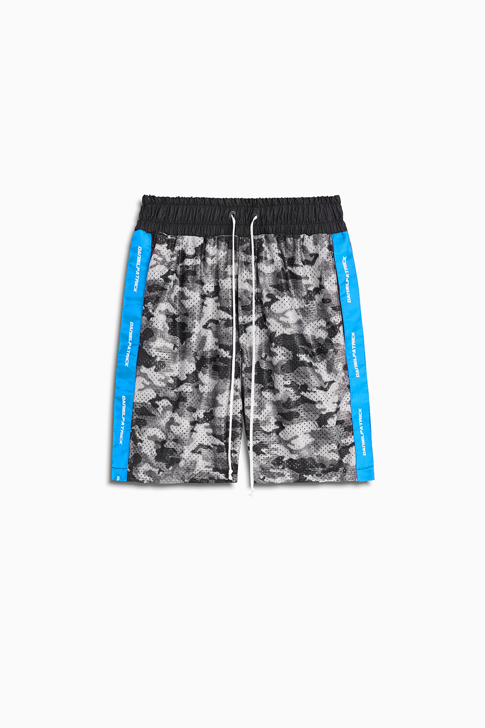 mesh gym short in grey scale camo/cobalt by daniel patrick