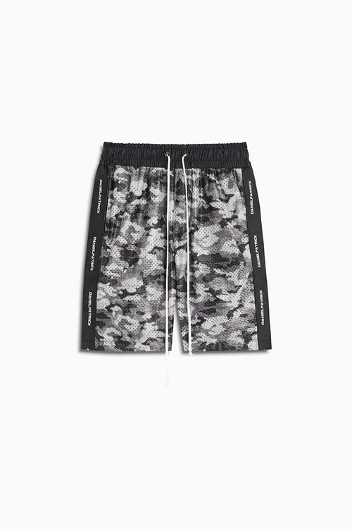mesh gym short in grey scale camo/black by daniel patrick