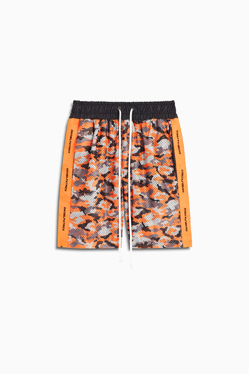 mesh gym short in high vis orange camo/neon orange by daniel patrick