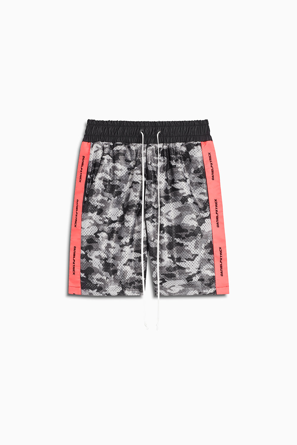 mesh gym short in grey scale camo/neon pink by daniel patrick