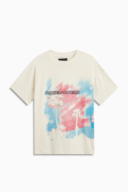LA nights tee / natural + pink + blue