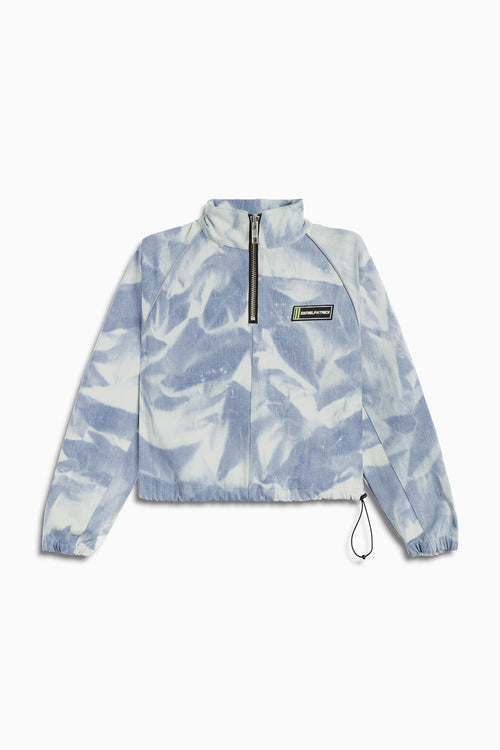 crop batting jacket / cloud denim