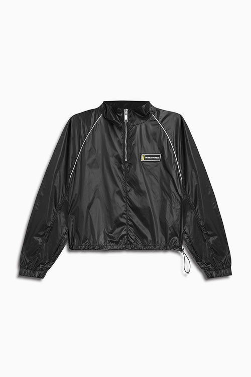 crop batting jacket / shiny black